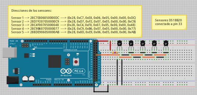 Ejemplo DS18B20 5 Sensores