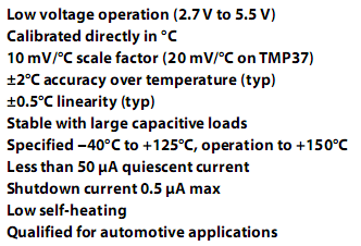 Caracteristicas TMP36