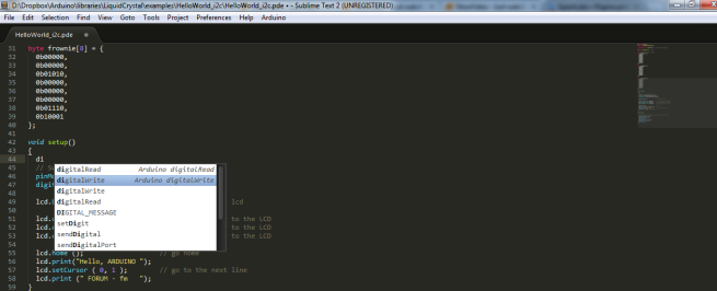 Captura de pantalla sublime text 2
