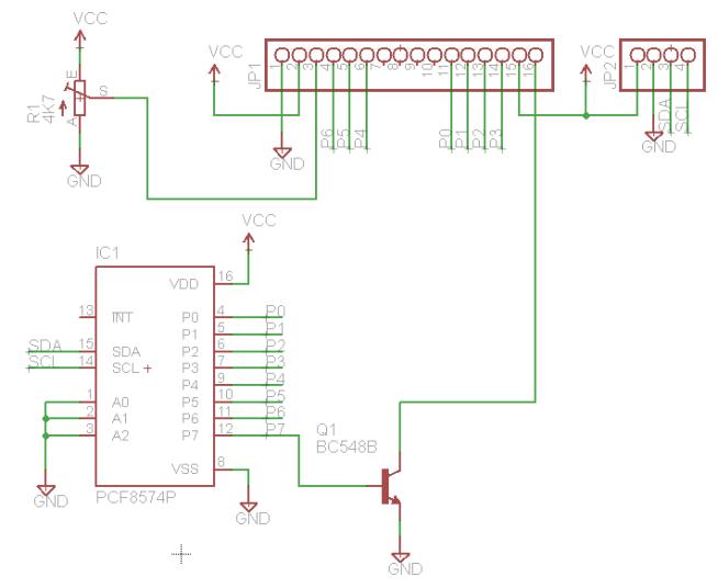 Esquemático eagle PCF8574 LCD